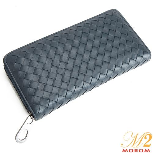真皮皮夾-MOROM.羊皮質感編織造型長夾(共二色)A10