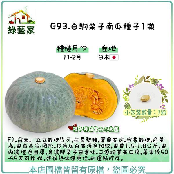 【綠藝家】G93.白駒栗子南瓜種子1顆