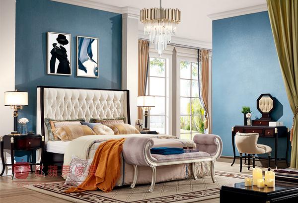 [紅蘋果傢俱] 308 瑞拉斯系列 後現代風 新古典  雙人床  床架 6尺 化妝台 床頭櫃