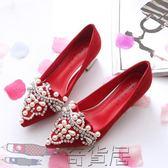 水鉆尖頭女婚鞋粗跟新娘鞋