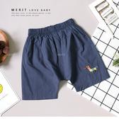 寶寶 彩色刺繡小馬動物立體耳朵休閒短褲 薄款 驢 藍灰色 趣味 嬰兒 小童 短褲 哎北比童裝