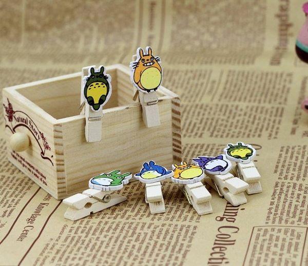 【發現。好貨】zakka可愛龍貓原木小木夾 木質小木夾 創意相片木夾 10枚/套 附麻繩