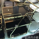 酒店手推車餐車個性時尚不銹鋼鋼化玻璃餐車酒店專用三層手推車酒水車LX 非凡小鋪
