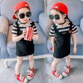 童裝女童連衣裙夏季新款小童條紋兩件裙子夏裝女休閑連衣裙 LI765『寶貝兒童裝』