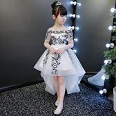 兒童婚紗蓬蓬紗主持人拖尾公主裙晚禮服秋