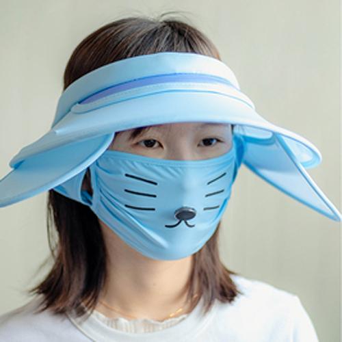 Qmishop 大帽簷遮陽帽子+貓咪口罩【QG1016】