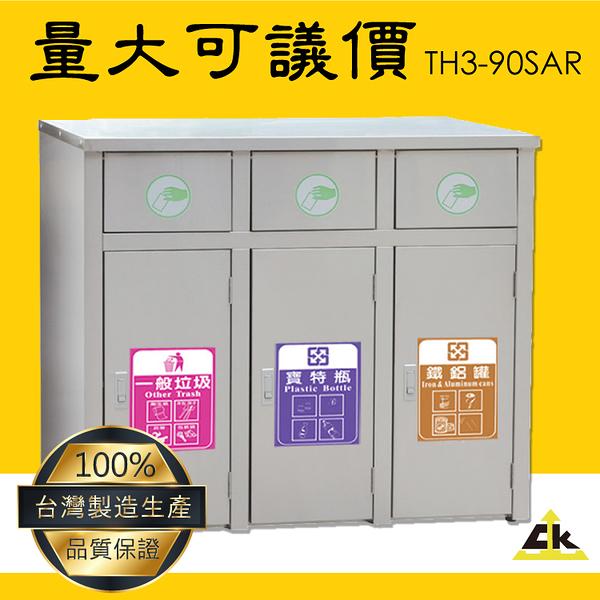 【MIT台灣製造】TH3-90SAR 不銹鋼三分類資源回收桶 室內/室外/戶外/資源回收桶/環保清潔箱