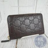 BRAND楓月 GUCCI GG 古馳 255452 咖啡色 牛皮 GG壓紋 拉鍊 卡夾 短夾 名片夾 零錢包