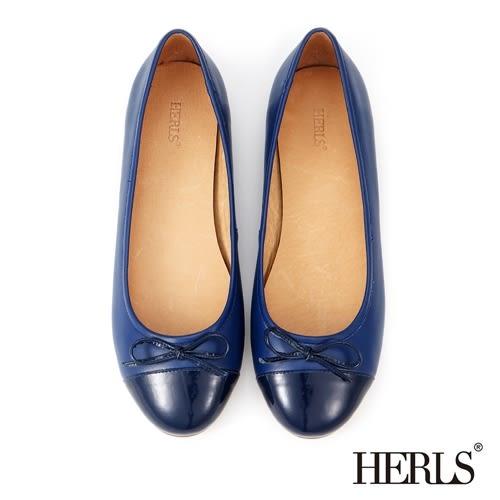 平底鞋-HERLS 全真皮 蝴蝶結芭蕾娃娃鞋-藍色