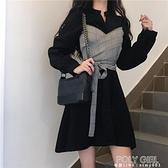 秋裝2021新款輕熟風設計感小眾假兩件收腰顯瘦氣質長袖連身裙女裝 夏季新品
