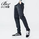 格子褲 質感深色格紋韓版文青大尺碼休閒長褲【NW651002】