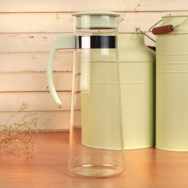 Artist精選 紫羅蘭耐熱玻璃冷熱兩用水壺1100ml-粉綠(MF0393)