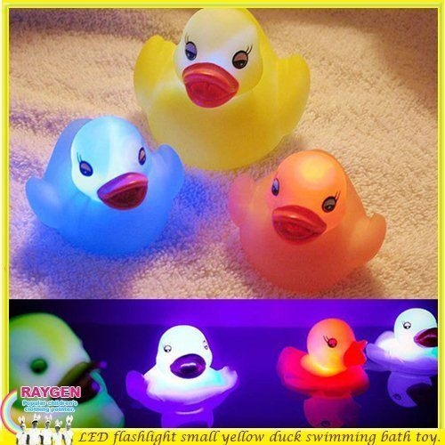 玩具 洗澡 戲水 發光 黃色小鴨 七彩 燈光
