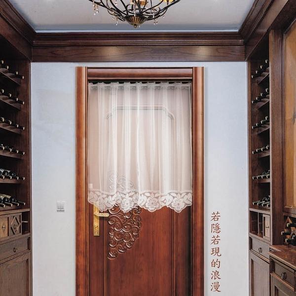 LASSLEY 門簾紗-弧形花飾100X90cm(蕾絲窗紗)