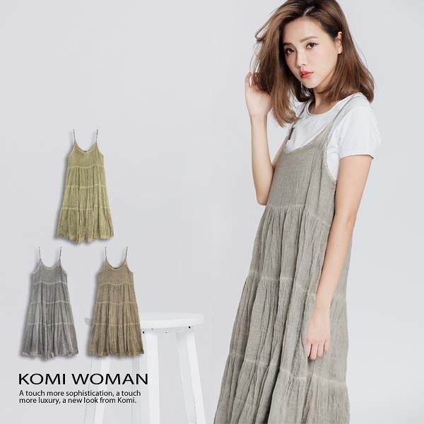 【南紡購物中心】KOMI-棉綁染細肩帶荷葉長洋裝‧棉裡.三色