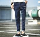 找到自己品牌 時尚潮流 日系修身 男 刺繡圖案 九分褲 小腳褲 牛仔褲 直筒褲