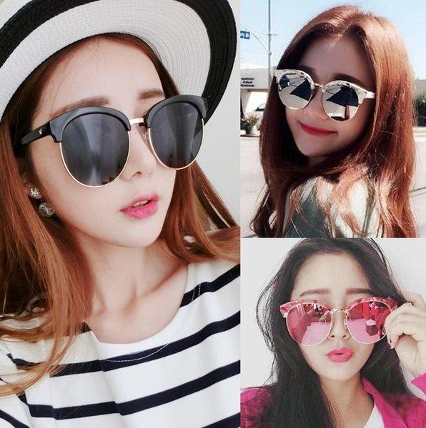 韓國 V牌同款 半花框大理石貝殼花紋 鐳射彩色墨鏡 平光太陽眼鏡 可搭比基尼罩衫涼鞋【RG322】