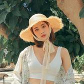 旅行沙灘遮陽帽女蕾絲綁帶蝴蝶結毛邊拉菲子女夏天大檐帽 愛麗絲精品