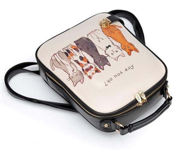 後背包 可愛貓咪插畫A4大容量後背包-La Poupee樂芙比質感包飾 (預購+好禮)