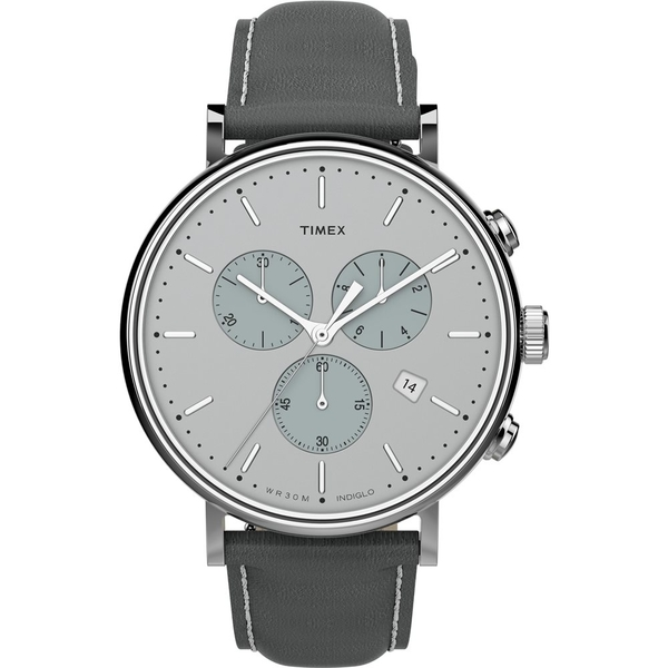 【TIMEX】 天美時 Fairfield Chrono系列 時尚三眼計時手錶 (銀 / 深灰 TXTW2T67500)