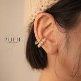 PUFII-耳骨夾 氣質珍珠金鍊耳釦耳骨夾-0928 現+預 秋【CP21067】