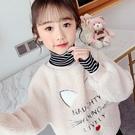 女童上衣 女童衛衣2021新款春裝兒童韓版洋氣中大童加厚高領套頭【快速出貨八折鉅惠】