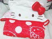 ♥小花花日本精品♥Hello Kitty頭臉造型附帽子毛巾披被毛巾被斗篷紅色水玉點點 33039602