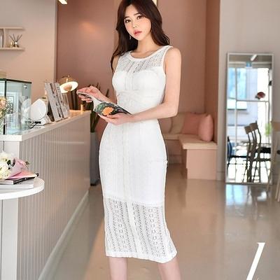 OL洋裝 連身裙7948#夏裝新款韓版氣質中長款修身拼接鏤空蕾絲包臀連身裙女NE49快時尚
