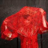 紅蓋頭喜蓋頭紗蕾絲喜帕蒙頭巾婚慶中式喜字流蘇蓋頭布【極簡生活館】