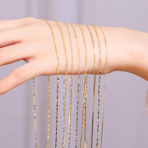 18K金項鍊女925純銀鍍黃金色單鍊子彩金裸鍊鎖骨鍊無吊墜 韓國時尚週