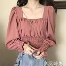 2021春裝新款法式長袖雪紡襯衫女設計感小眾洋氣收腰顯瘦短款上衣 小艾新品