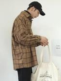 襯衫外套   秋冬季外套韓版潮流ins毛呢料長袖襯衫男士加厚加絨寬鬆格子襯衣 伊羅 新品