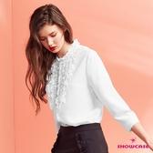 【SHOWCASE】甜美珍珠鑽鍊層次荷葉領OL七分袖雪紡襯衫(白)