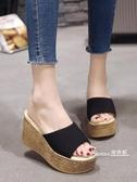 厚底楔形-拖鞋女夏季厚底楔形厚底防水台高跟一字拖時尚外穿鬆糕底百搭女士涼鞋 Korea時尚記