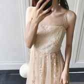 名媛氣質吊帶抹胸式聚會宴會禮服裙蕾絲刺繡度假連衣裙女吾本良品