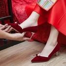 婚鞋女中式新娘鞋紅色高跟鞋孕婦不累腳【慢客生活】