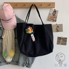 文藝女帆布包大容量慵懶風手拎側背包環保購物袋【小酒窩服飾】