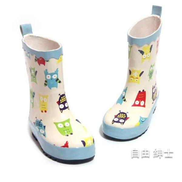 兒童雨鞋正韓兒童雨靴男童女寶寶雨靴卡通貓頭鷹雨靴雨鞋七夕禮物