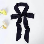2019加長細窄小絲巾女春秋百搭純色雙面領巾領帶領結發帶裝飾包包