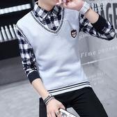 秋冬季加絨毛衣男士韓版假兩件襯衫領帶領針織衫長袖假領毛線衣服