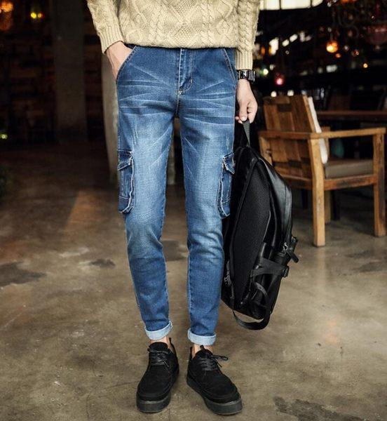 找到自己品牌 時尚潮流 男 多口袋褲 牛仔褲 休閒工裝褲 束腳褲 直筒褲