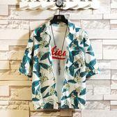 夏季chic風夏威夷花襯衫短袖男加肥大碼復古寬鬆沙灘襯衣男情侶款 韓流時裳
