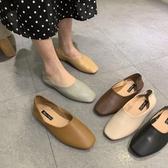豆豆鞋軟皮簡約方頭平跟奶奶鞋兩穿平底單鞋蛋卷鞋復古豆豆鞋女 芊墨左岸