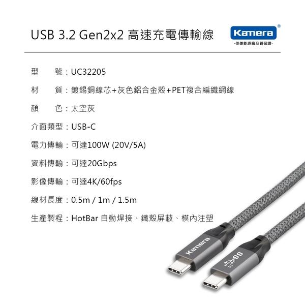 Kamera USB3.2 Gen2x2 雙USB-C PD超極速傳輸充電 編織線 (0.5M) 20Gbps閃電傳輸 100W 5A大電流