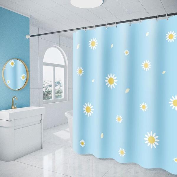 浴簾防水布加厚防霉套裝免打孔浴室窗簾簾子掛簾衛生間滌綸布網紅 NMS名購新品