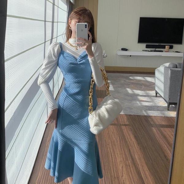 毛呢裙 毛呢吊帶連衣裙2021年新款秋冬性感氣質收腰中長款包臀魚尾裙子女 歐歐