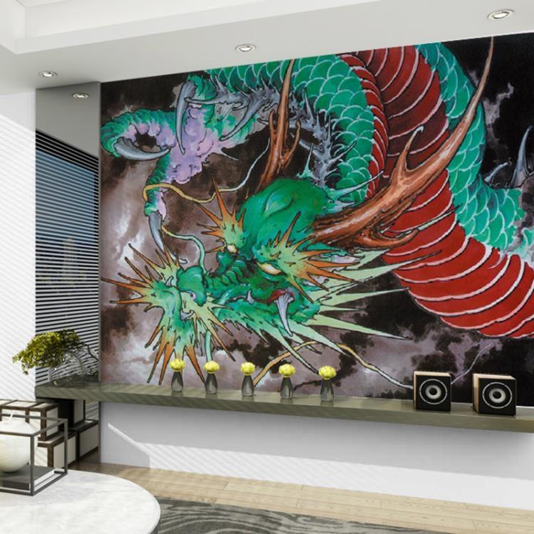 可訂製紋身工作室紋身店牆紙青龍中國龍壁紙刺青壁畫裝飾圖案背景牆牆布
