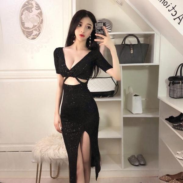 洋裝小禮服夜店酒吧女裝性感低胸V領鏤空漏腰宴會閃亮側開洋裝
