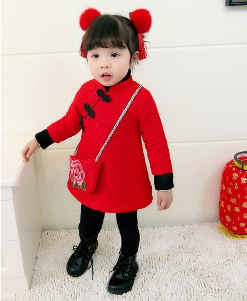 長袖洋裝 小童新年旗袍加絨長袖連衣裙 金魚花包包 W77001