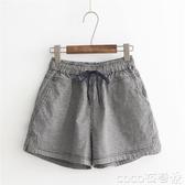 棉麻短褲2020夏季新款潮棉麻熱褲薄款休閒褲寬鬆闊腿褲高腰黑白格子短褲女